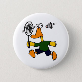 XX- Duck Playing Badminton Cartoon 6 Cm Round Badge
