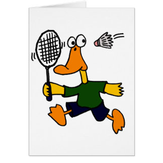 XX- Duck Playing Badminton Cartoon Card