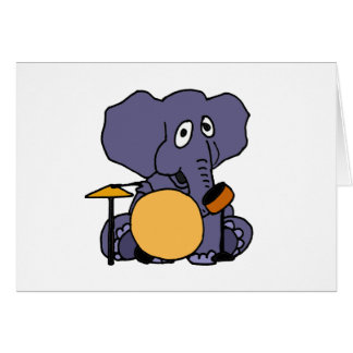 XX- Elephant Playing Drums Card