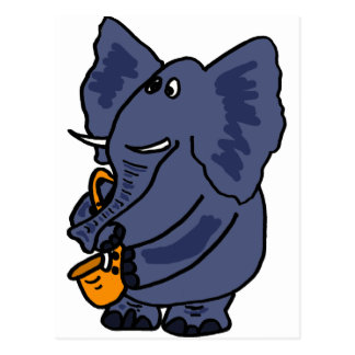 XX- Elephant Playing Saxophone Postcard
