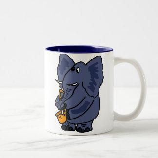 XX- Elephant Playing Saxophone Two-Tone Coffee Mug