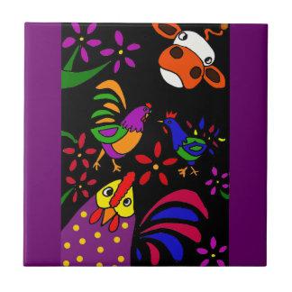 XX- Folk Art Farm Animals Tile