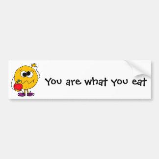 XX- Fruity Smiley Face Eating an Apple Bumper Sticker