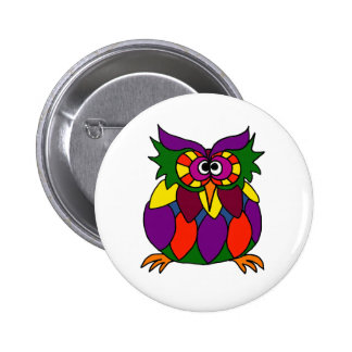 XX- Funky Owl Art Cartoon Pinback Button