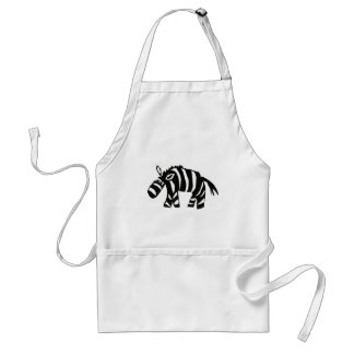 XX- Funky Primitive Art Zebra Standard Apron