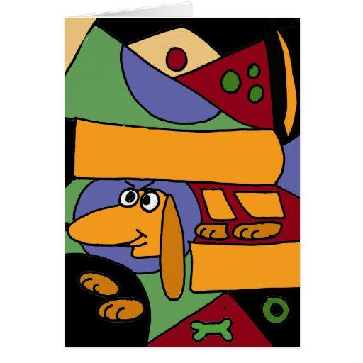 XX- Funny Abstract Art Dachshund Greeting Card