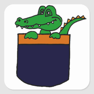 XX- Funny Alligator in a Pocket Square Sticker