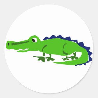 XX- Funny Alligator Primitive Art Classic Round Sticker