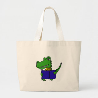 XX- Funny Alligator Reading a Book Large Tote Bag