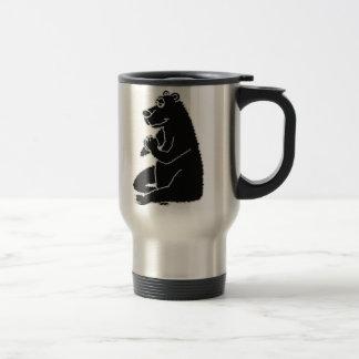 XX- Funny Black Bear doing Yoga Stainless Steel Travel Mug