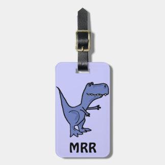 XX- Funny Blue T-rex Dinosaur Luggage Tag