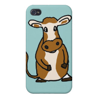 XX- Funny Brown and White Cow Cartoon iPhone 4/4S Cases