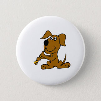 XX- Funny Brown Dog Playing the Clarinet 6 Cm Round Badge