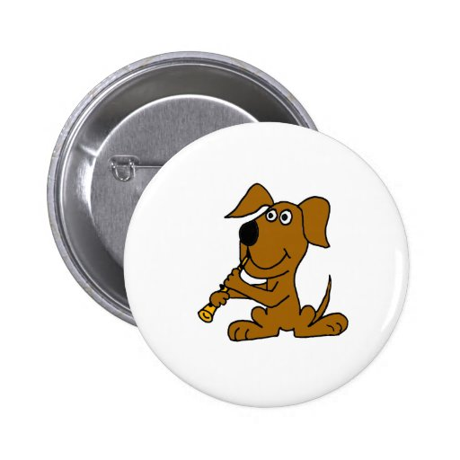 XX- Funny Brown Dog Playing the Clarinet Pinback Buttons