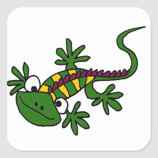XX- Funny Colorful Iguana Cartoon Square Sticker