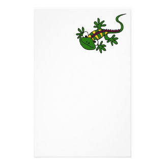 XX- Funny Colorful Iguana Cartoon Stationery