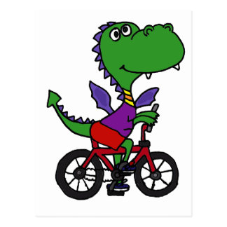 XX- Funny Dragon Riding Bicycle Postcard