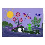 XX- Funny Frog Sitting on a Gator Cartoon