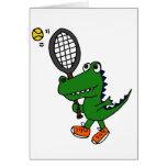 XX- Funny Gator Playing Tennis Greeting Card