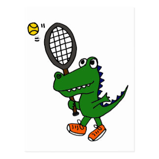 XX- Funny Gator Playing Tennis Postcard