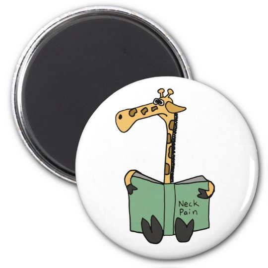 XX- Funny Giraffe Reading Neck Pain Book Cartoon Magnet