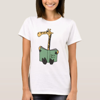 XX- Funny Giraffe Reading Neck Pain Book Cartoon T-Shirt