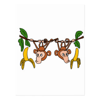 XX- Funny Hanging Monkeys Postcard