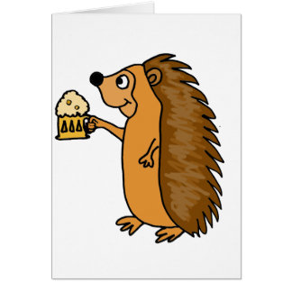 XX- Funny Hedgehog Rasing a Pint Card