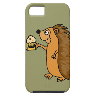 XX- Funny Hedgehog Rasing a Pint iPhone 5 Cases