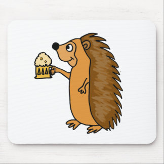 XX- Funny Hedgehog Rasing a Pint Mouse Pad