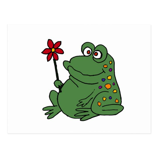XX- Funny Hippie Frog holding Daisy Postcard