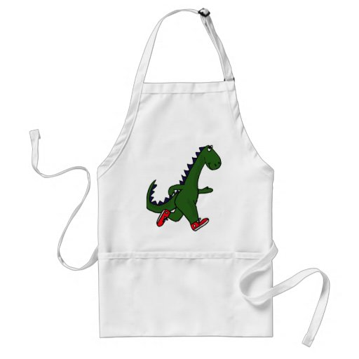 XX- Funny jogging dinosaur with Red Sneakers Apron