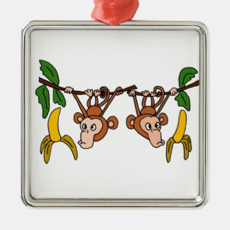 XX- Funny Monkeys in Tree Christmas Ornament