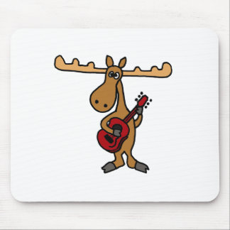 XX- Funny Moose Playing Guitar Cartoon Mouse Mat