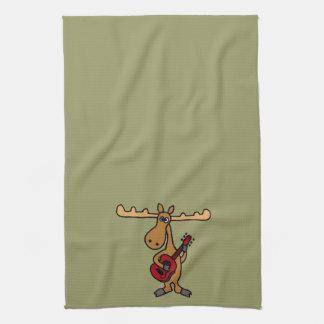 XX- Funny Moose Playing Guitar Cartoon Tea Towel