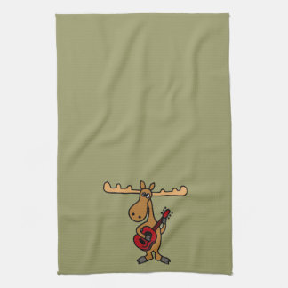 XX- Funny Moose Playing Guitar Cartoon Tea Towels