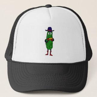 XX- Funny Pickle Playing Harmonica Cartoon Trucker Hat