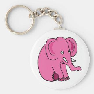 XX- Funny Pink Elephant Basic Round Button Key Ring