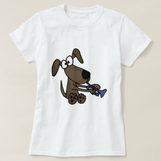 XX- Funny Puppy Dog Playing Trumpet Cartoon T-Shirt