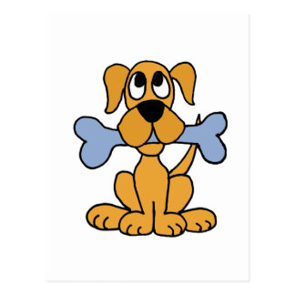 XX- Funny Puppy Dog with a Bone Design Postcard