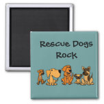 XX- Funny Rescue Dogs Group Cartoon Square Magnet