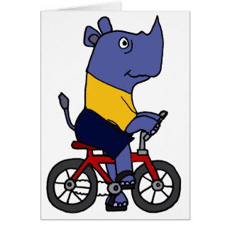 XX- Funny Rhino Riding Bicycle Cartoon Card