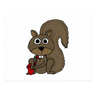 XX- Funny Squirrel Playing the Saxophone Postcard