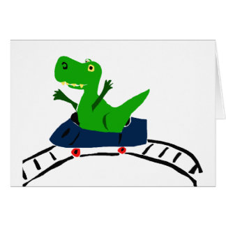 XX- Funny T-rex Dinosaur on Roller Coaster Art Card