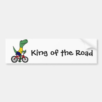 XX- Funny T-rex Dinosaur Riding Bicycle Bumper Sticker