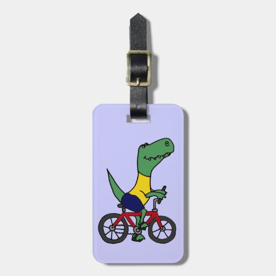 XX- Funny T-rex Dinosaur Riding Bicycle Luggage Tag