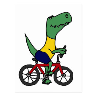 XX- Funny T-rex Dinosaur Riding Bicycle Postcard