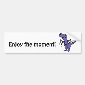 XX- Funny T-rex Dinosaur Using Hula Hoop Bumper Sticker