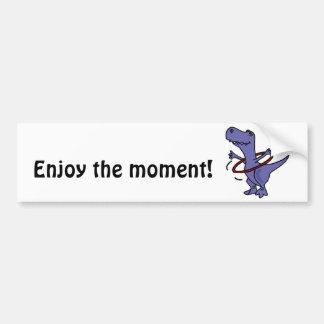 XX- Funny T-rex Dinosaur Using Hula Hoop Bumper Sticker