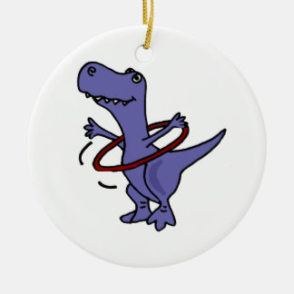 XX- Funny T-rex Dinosaur Using Hula Hoop Christmas Ornament